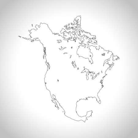北アメリカの地図  イラスト・ベクター素材