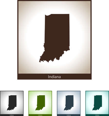 Isolated illustration design graphic silhouette map of Indiana Illustration