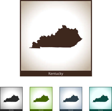 Isolated illustration design graphic silhouette map of Kentucky