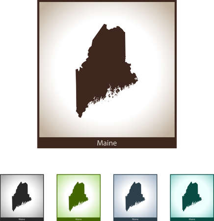 Isolated illustration design graphic silhouette map of Maine