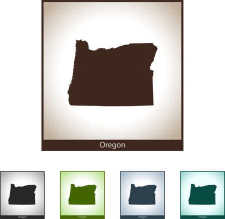 Isolated illustration design graphic silhouette map of Oregon  イラスト・ベクター素材