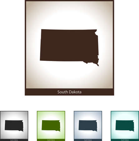 Isolated illustration design graphic silhouette map of South Dakota