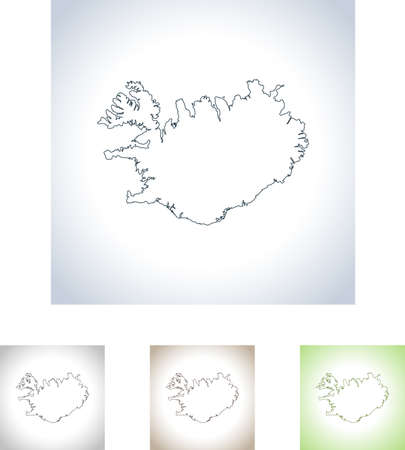 Map of Iceland Vettoriali