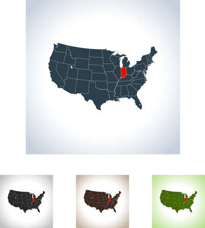 Map of Indiana icon. Stock Vector - 99572128