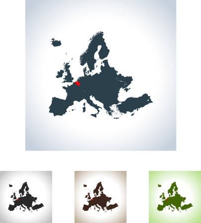 Map of Belgium in four variation.