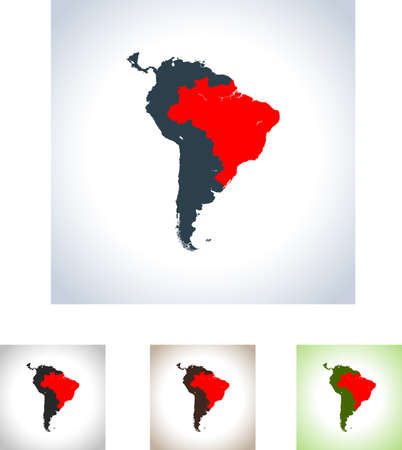 Map of Brazil in four variation.
