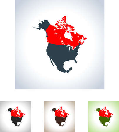 Map of Canada in four variation. Çizim