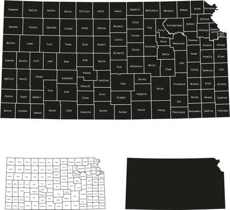 map of Kansas 向量圖像