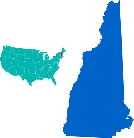map of New Hampshire 矢量图像