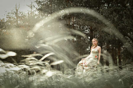 Portrait of romantic woman in fairy forest Stock Photo - 9001669