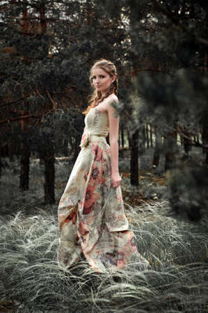 Portrait of romantic woman in fairy forest Stock Photo - 9001670