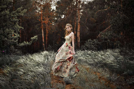 Portrait of romantic woman in fairy forest Stock Photo - 9001672