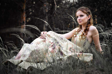 Portrait of romantic woman in fairy forest Stock Photo - 9001667