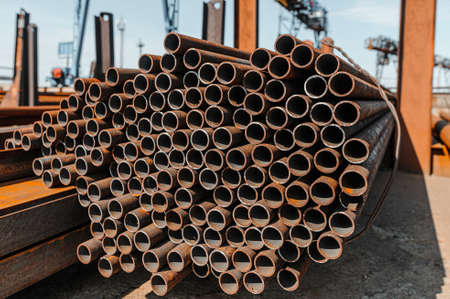 Warehouse for storage of steel pipes of different grades.
