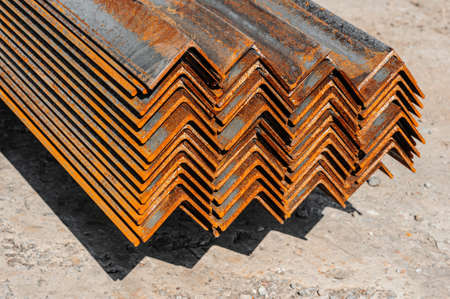 Metal profile angle in packs at the warehouse of metal products