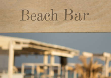 Morning, the beach bar is ready for guests. It looks like good weather today. 版權商用圖片