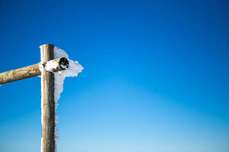 Wooden pole partly covered with snow. The day is sunny and the sky is blue. Copy Space. Winter.