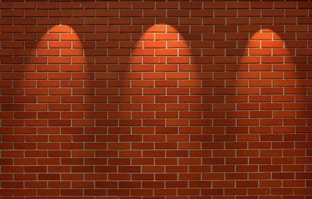 shined: Fragment of the shined brick wall with three spot light
