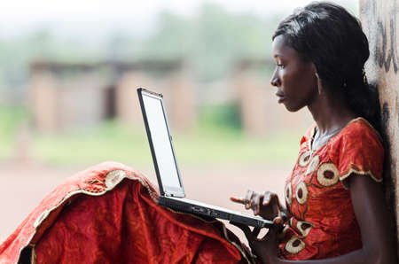 Education for Africa: Technology icon African Woman Studying Learning Lesson Archivio Fotografico