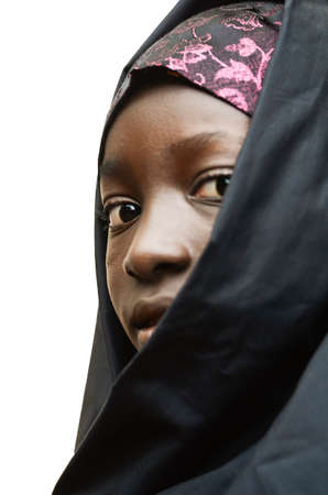 African girl sideview with a black head scarf Stock Photo