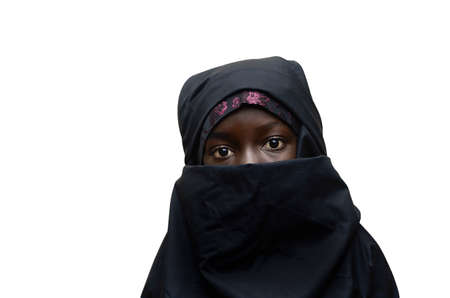 Little African girl with a typical burka niqab