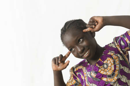 African girl looking away with clever head, isolated on white