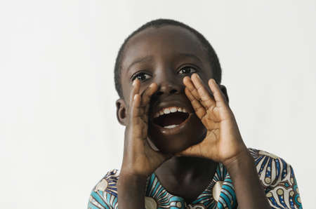 African boy shouting and crying out loud, isolated on white