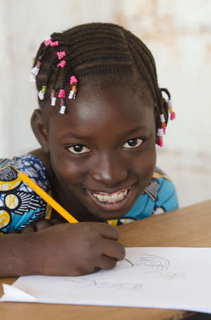 Close Up Portrait of Beautiful African Girl at School Zdjęcie Seryjne