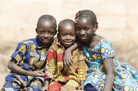 African Family Boys and Girls Smiling Laughing in Africa 写真素材