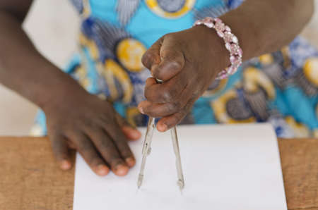 International Women in Science Day - Little African Girl Using Compass