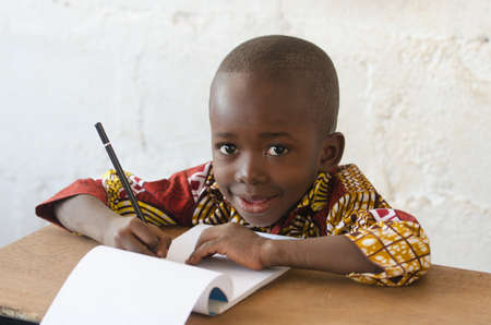 African Ethnicity Child with White Background with Copy Space