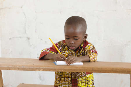 African Black Ethnicity Boy Studying Portrait Shot