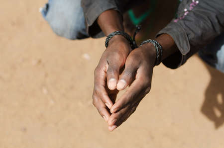 Refugee in Lybia Symbol - Slavery Concept with Black Man