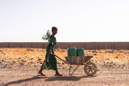 Gorgeous African ethnicity Girl Carrying fresh Water for an aridity concept