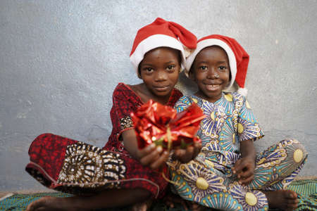 Close Up Photo of African Children Happy for Christmas