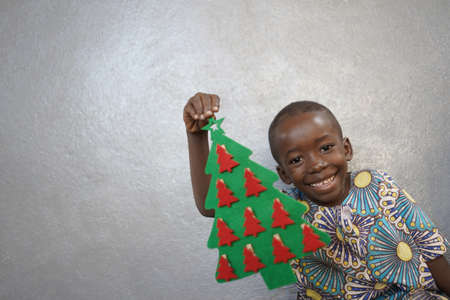 Laughing School Boy Happy for Christmas