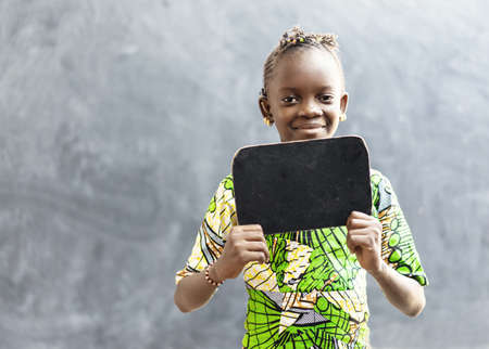 Gorgeous African Girl Woman Holding Blackboard