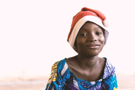 Portrait of Christmas African Girl Smiling with Traditional Clothing