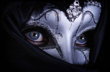 drama masks: Blue eye with silver mask