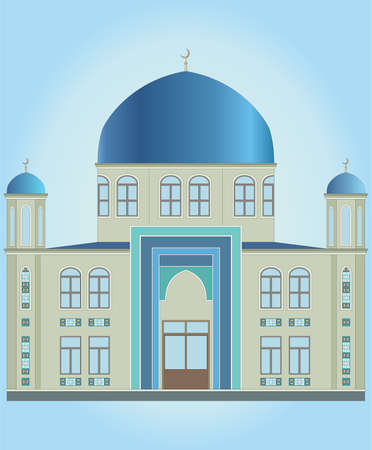 ISLAMIC MOSQUE AND BLUE DOME vector illustration