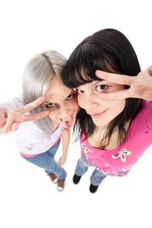 Two girls holding two fingers like in pulp fiction dance routine photo