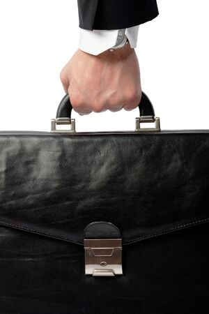 Business hand with a suitcase photo