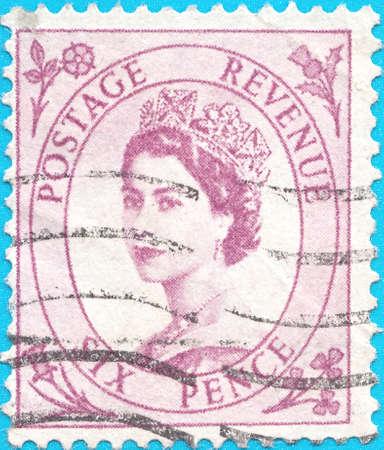 Canceled postage stamp, depicting Great Britain Tangier Queen ElizabethII 1952-54 Issu.