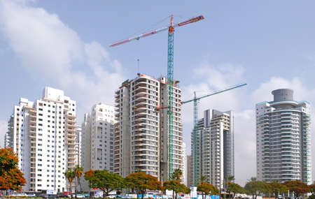 Housing construction of houses in a new area of the city Holon in Israel.