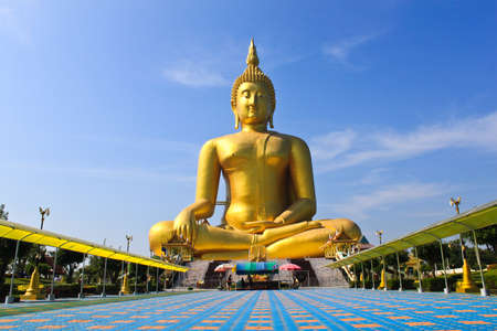 big statue image of buddha at Wat muang,Angthong,Thailand