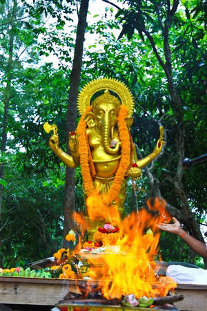 Ganesh in fire ceremony photo