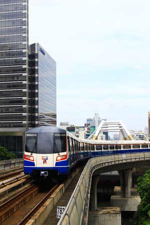 skytrain runs through Sathorn business center Bangkok Editorial