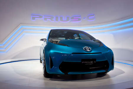 Toyota prius-c concept car model showing in Toyota pavilion. BOI fair 2011 Big festival the achievements of Thai industry in the areas of technology and innovation concept Stock Photo - 12559345