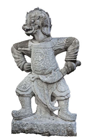 The ancient Chinese warrior statues in thai temple photo