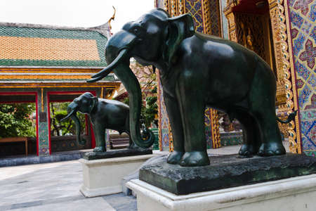 elephant statue in temple Thailand photo